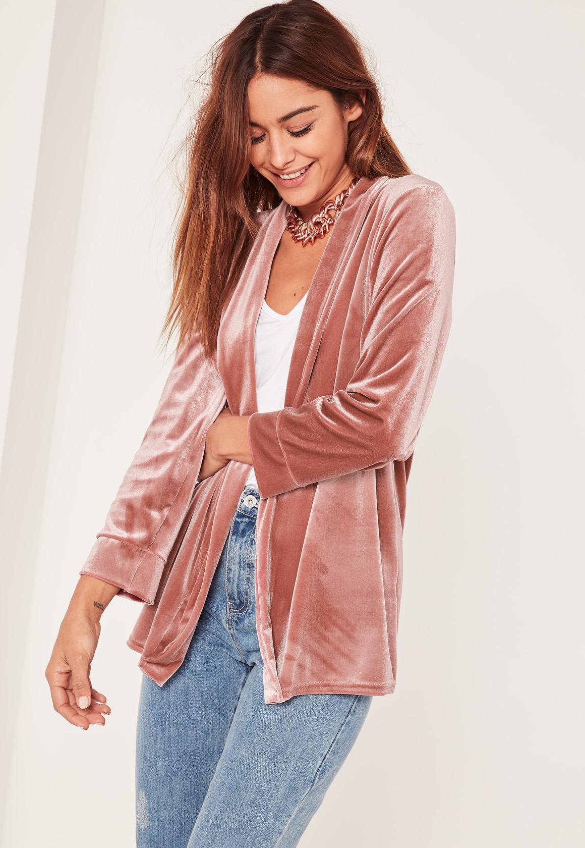 Pink Slouchy Velvet Blazer - Missguided
