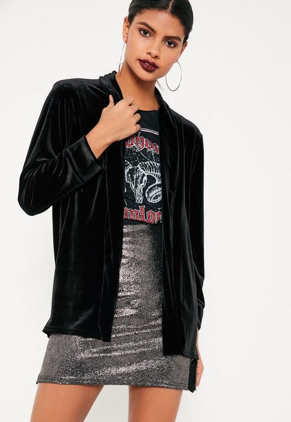 Black Slouchy Velvet Blazer