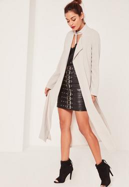 Caroline Receveur Grey Long Sleeve D Ring Detail Maxi Duster Coat