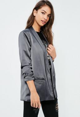 Grey Gathered Sleeve Satin Longline Blazer