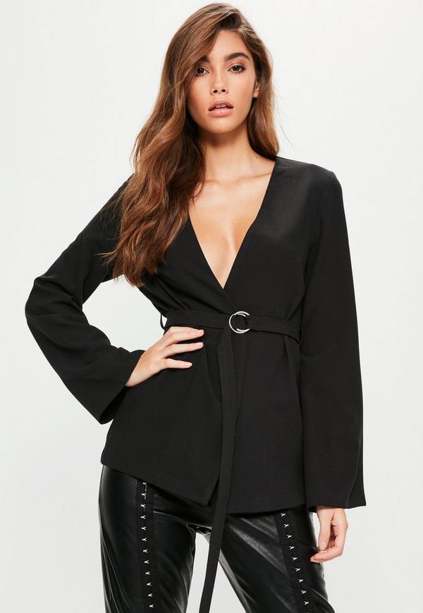 Black Belted Bell Sleeve Blazer