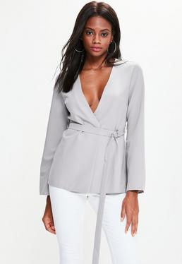 Grey Belted Bell Sleeve Blazer