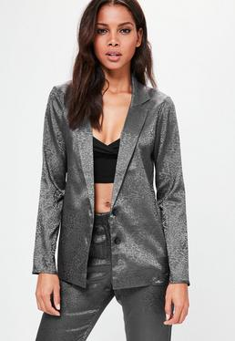 Grey Animal Pattern Jacquard Blazer