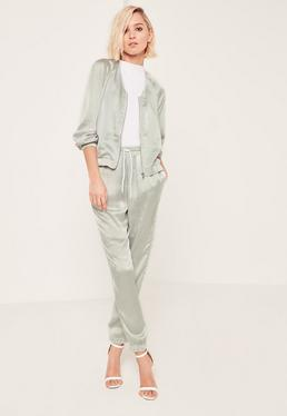 Grey Satin Zipped Jacket