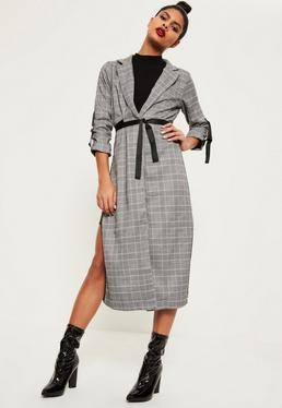 Checked Buckle Sleeve Duster Jacket