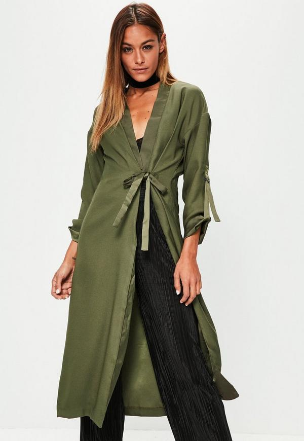 Khaki Satin Detail Double Tie Front Duster Jacket