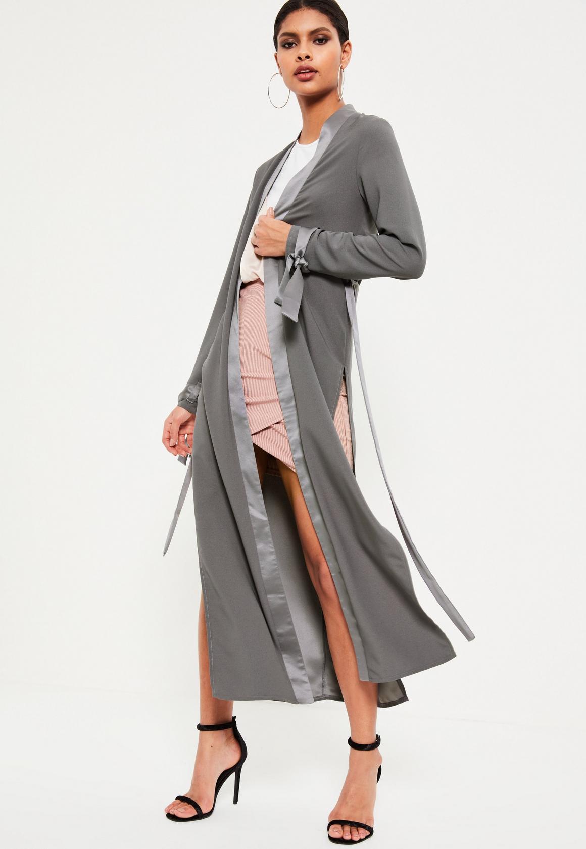 Grey Satin Trim Tie Cuff Duster Coat | Missguided Ireland