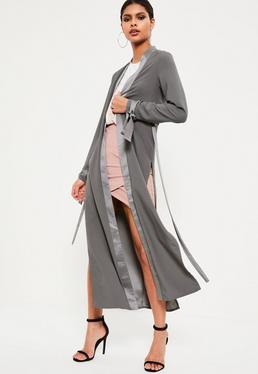 Grey Satin Trim Tie Cuff Duster Coat