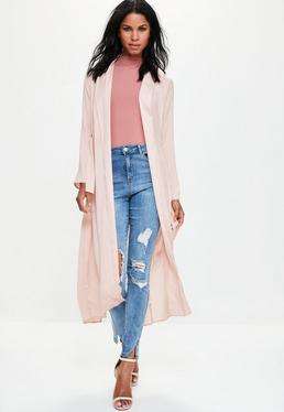 Pink Extreme Split Back Hammered Satin Duster Coat