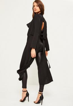 Black Extreme Split Back Hammered Satin Duster Coat
