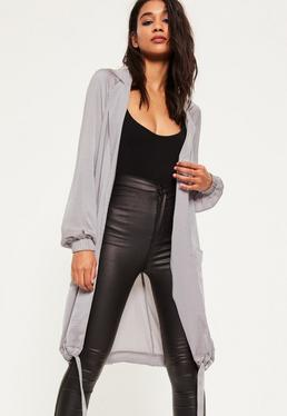 Grey Satin Cocoon Hem Long Jacket