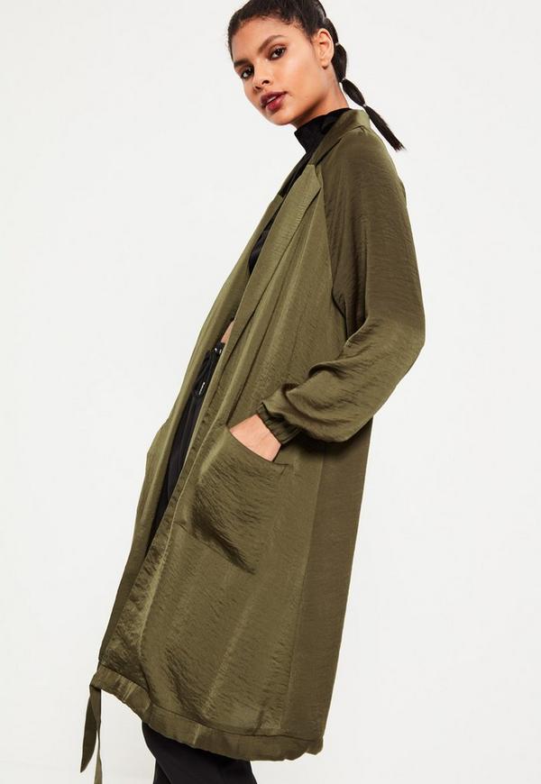 Khaki Satin Cocoon Hem Long Jacket