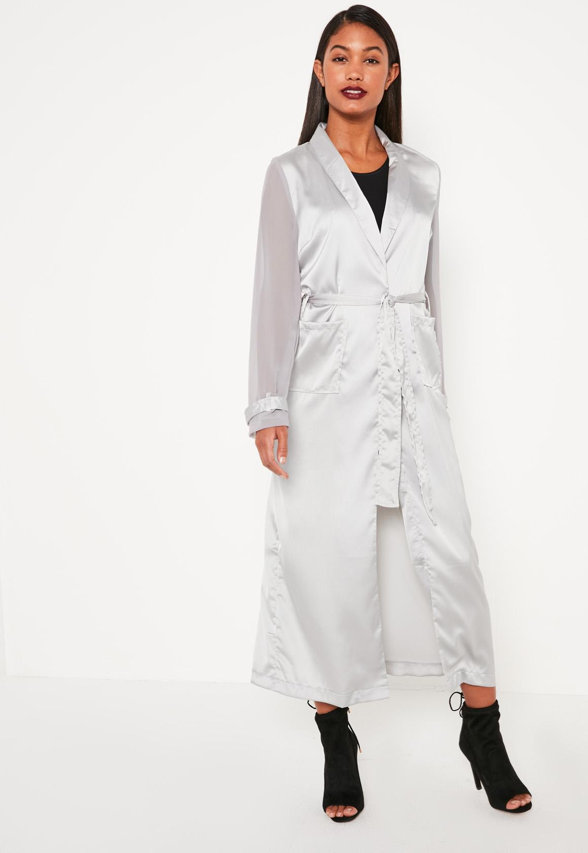 Grey Satin And Chiffon Mixed Belted Duster Coat | Missguided