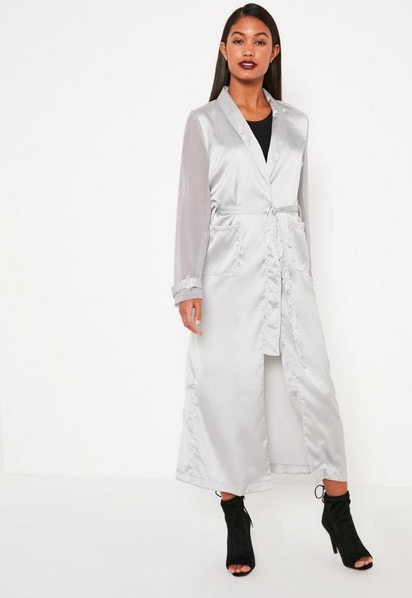 Grey Satin And Chiffon Mixed Belted Duster Coat