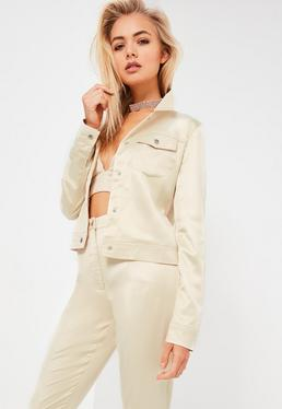 Galore Nude Satin Jacket