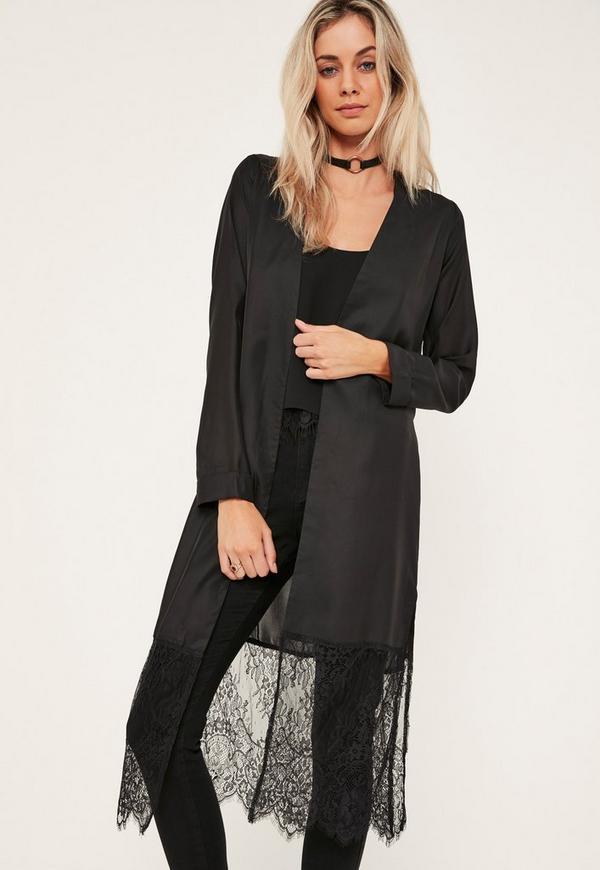 Black Satin Lace Hem Duster Coat