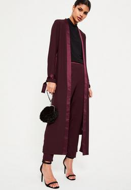 Purple Satin Trim Tie Cuff Duster Coat