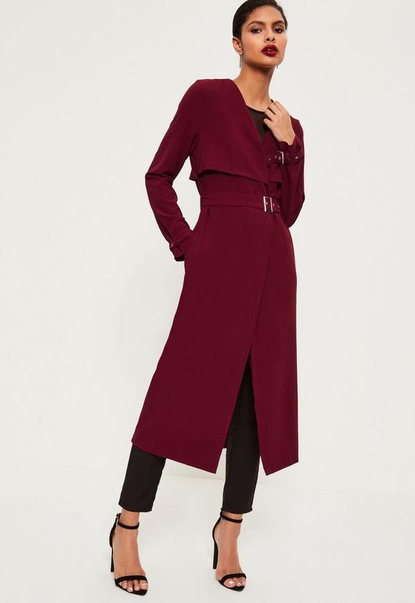 Burgundy Crepe Maxi Belted Duster Coat