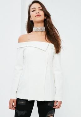 White Bardot Fold Detail Blazer