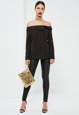 Black Bardot Fold Detail Blazer