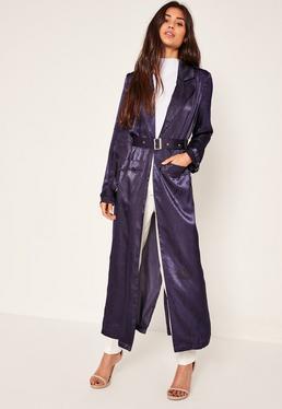 Granatowy długi płaszcz z klamrą