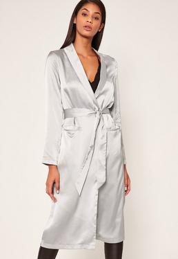 Silver Satin Duster Jacket