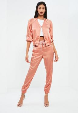 Pink Satin Zip Through Jacket