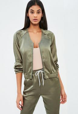 Khaki Satin Zip Through Jacket