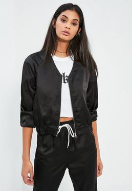 Black Satin Zip Through Jacket Gold