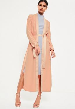 Nude Satin Trim Tie Cuff Duster Coat
