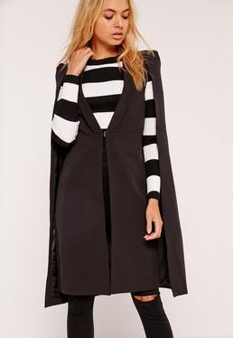 Long blazer cape noir