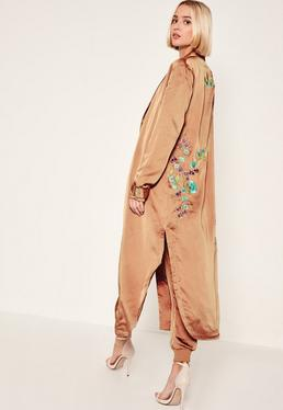 Rose Gold Floral Embroidered Duster Jacket