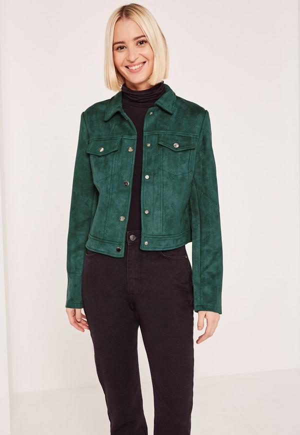 Green Faux Suede Jacket