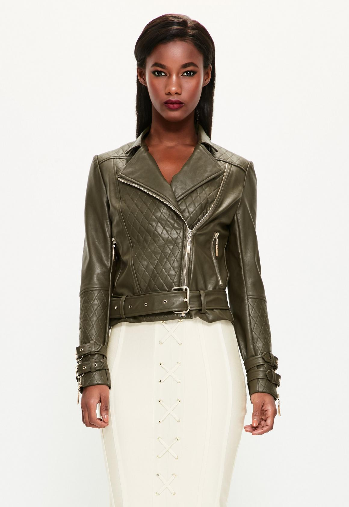 Peace + Love Khaki Faux Leather Quilted Biker Jacket | Missguided : leather quilted biker jacket - Adamdwight.com