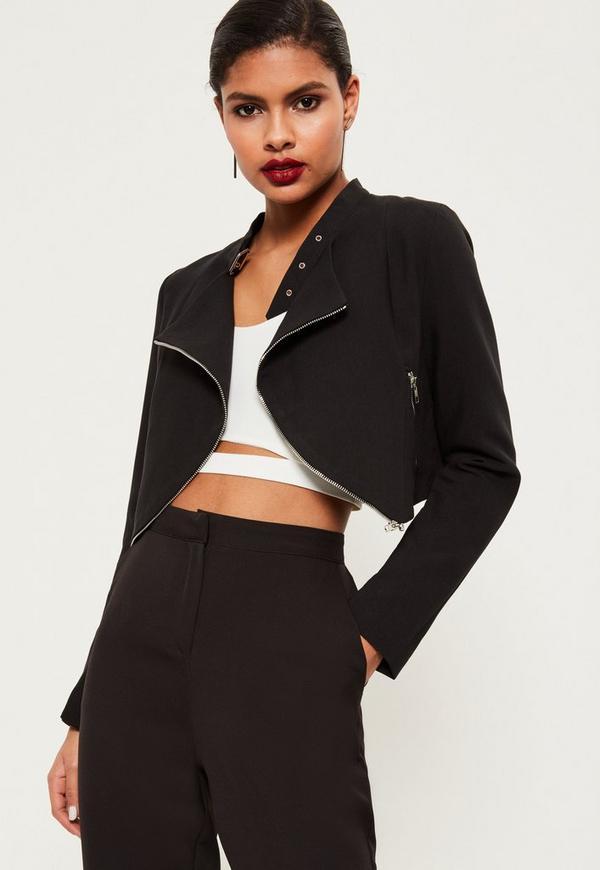 Black Zip Detail Buckle Neck Cropped Jacket