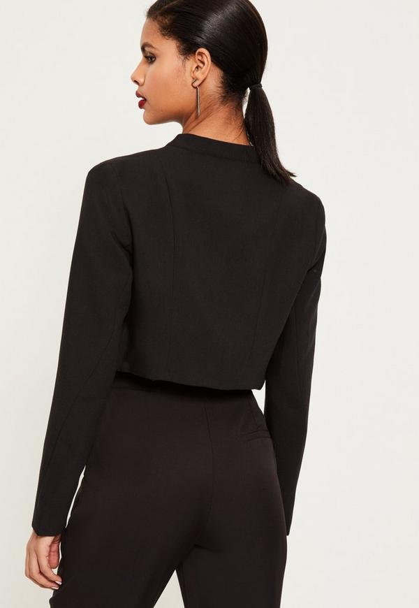 Black Zip Detail Buckle Neck Cropped Jacket | Missguided