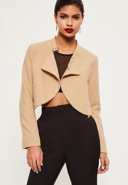 Nude Zip Detail Buckle Neck Cropped Jacket