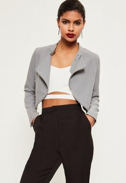 Grey Zip Detail Buckle Neck Cropped Jacket