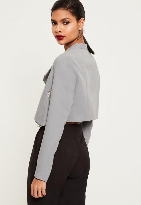 Grey Zip Detail Buckle Neck Cropped Jacket | Missguided