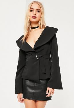 Black Open Neck Side Tie Detail Crepe Blazer