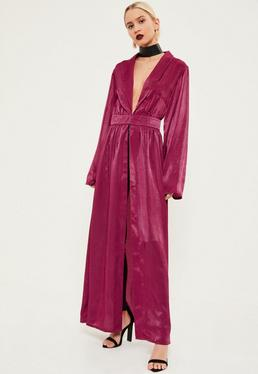 Pink Crushed Satin Waist Detail Duster Coat