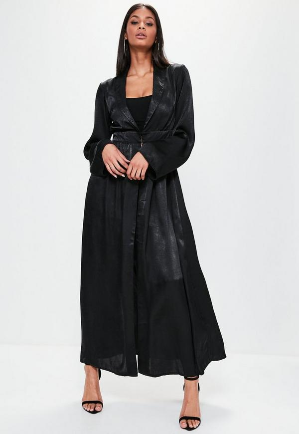 Black Crushed Satin Waist Detail Duster Coat