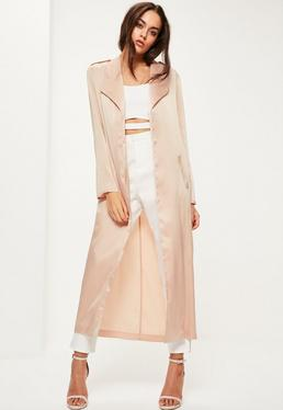 Nude Satin Tie Waist Duster Coat