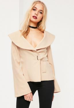 Nude Open Neck Side Tie Detail Crepe Blazer