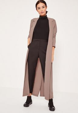 Light Brown Long Sleeve Maxi Duster Jacket