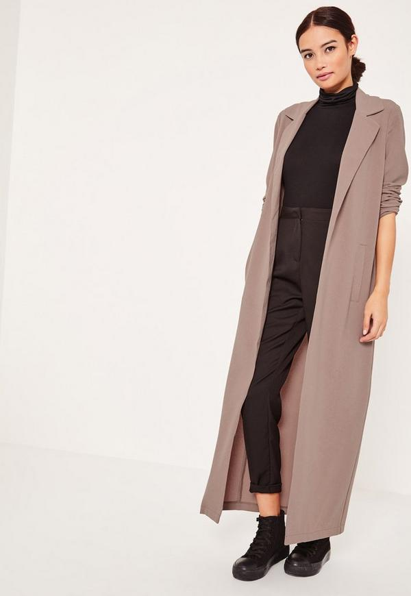 Light Brown Long Sleeve Maxi Duster Jacket | Missguided