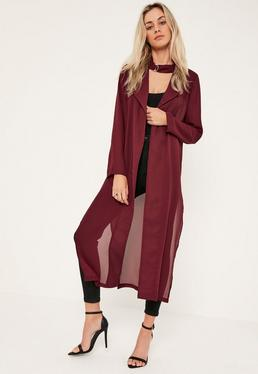 Burgundy Long Sleeve Maxi Duster Jacket
