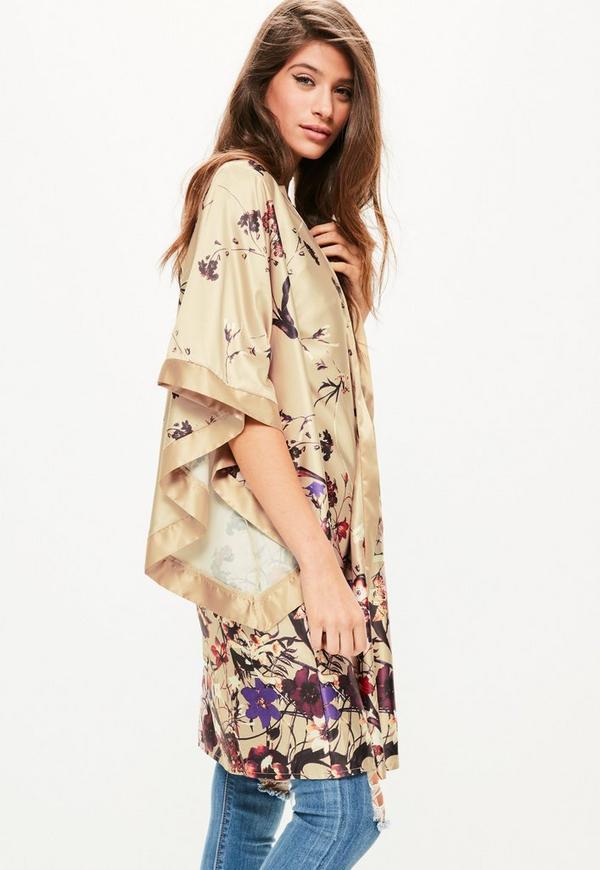 Gold Oriental Printed Kimono Sleeve Duster Jacket Missguided