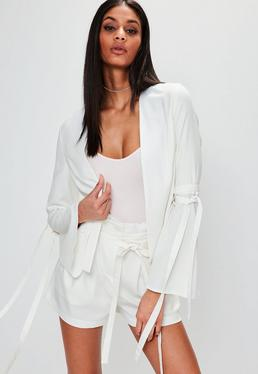 Cream Tie Sleeve Blazer