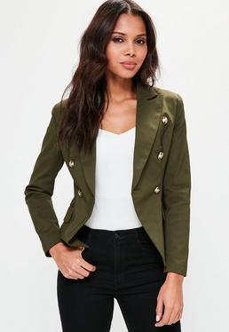 Khaki Military Style Blazer